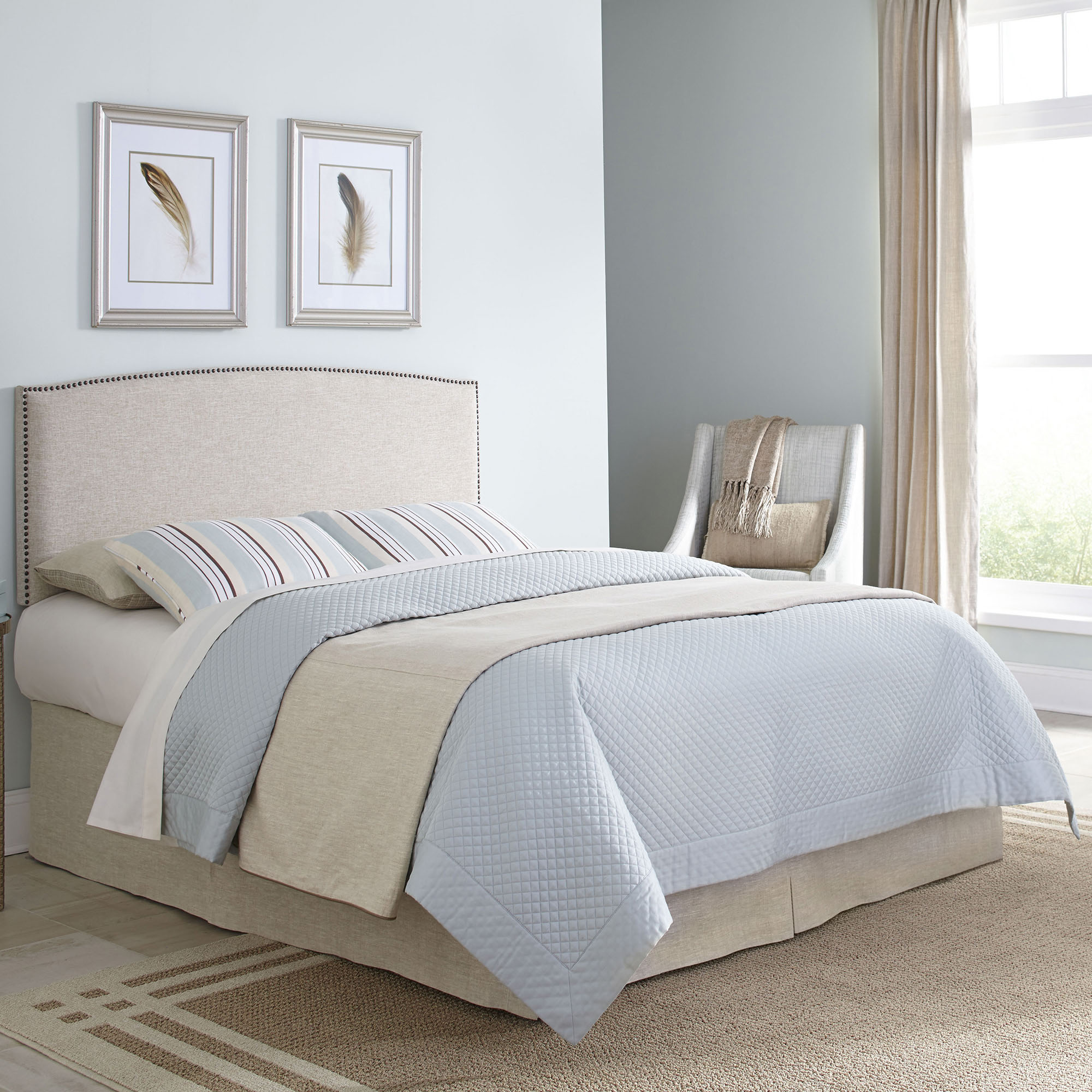 Princeton Upholstered Headboard with Adjustable Height and Nailhead Trim, Light Wheat Finish, Twin