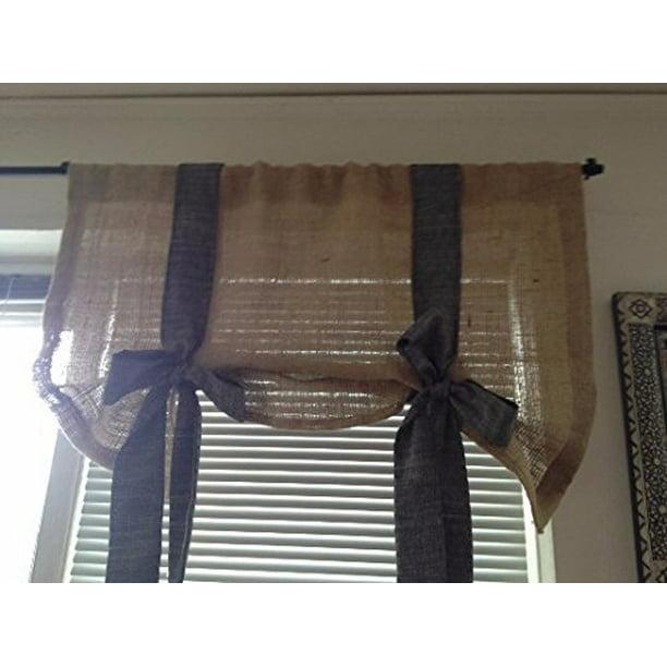 Km Curtain Black Chambray And Burlap, Black Valance Curtains
