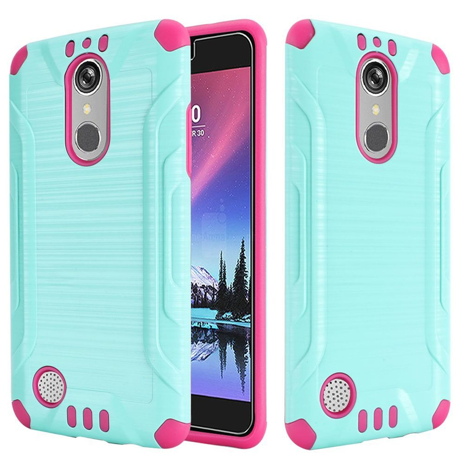LG Grace 4G/Harmony/K20 Plus/K20 V Case, by HR Wireless Dual Layer Hybrid Rubber Coated Hard Plastic/Soft Silicone Case Cover For LG Grace 4G/Harmony/K20 Plus/K20 V, Teal/Hot Pink