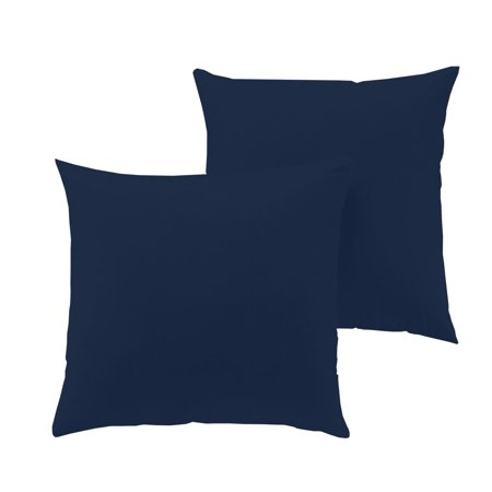 """The Great American Store Hand Made Indoor/Outdoor 6D Set of 2 Solid Euro Pillows- Navy Blue (16"""" X 16"""") for Decorative bed Pillow Shams - Hypoallergic, Down Alternative Fill"""