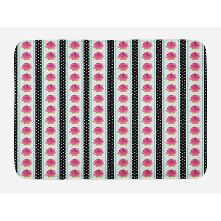 - Retro Bath Mat, Vertical Old Fashioned Borders with Pink Roses on Polka Dots Background Country Style, Non-Slip Plush Mat Bathroom Kitchen Laundry Room Decor, 29.5 X 17.5 Inches, Multicolor, Ambesonne