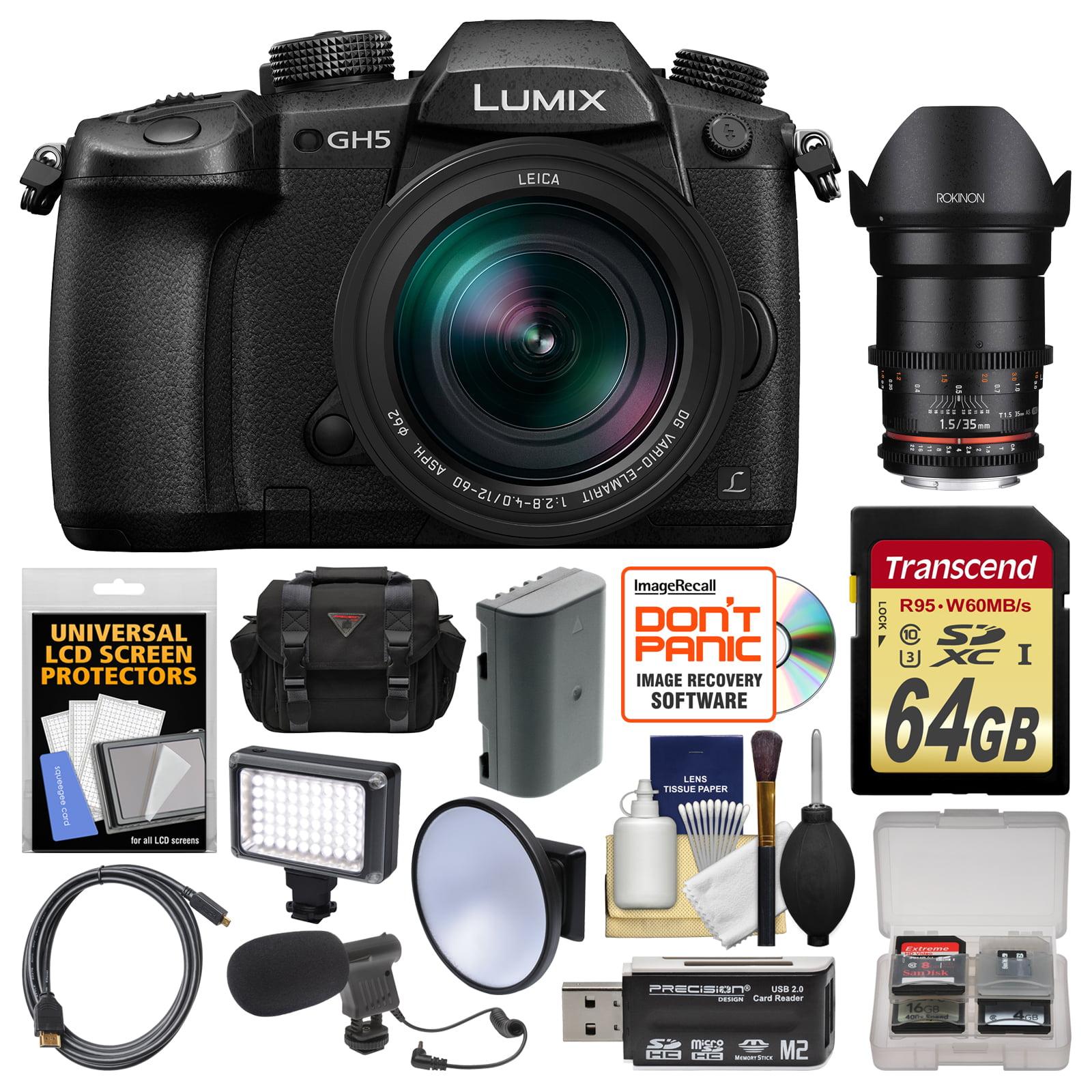 Panasonic Lumix DC-GH5 Wi-Fi 4K Digital Camera & 12-60mm f 2.8-4.0 with 35mm T 1.5 Lens + 64GB Card + Case +... by Panasonic
