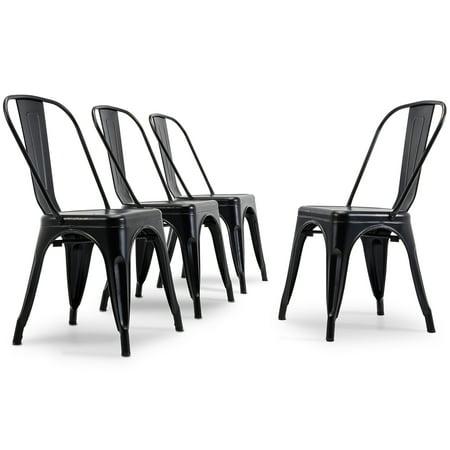 Belleze Set of 4 Antique Black Dining Side Chair Stackable Bistro Cafe Metal Stool Vintage ()