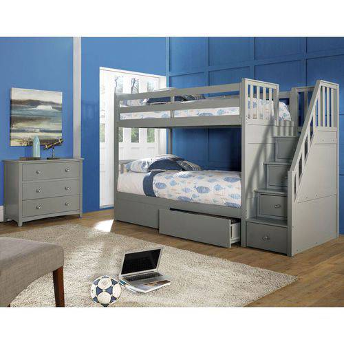 barrett twin over twin wood bunk bed with storage grey finish