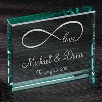 "Personalized Infinity Love 4"" x 5"" Glass Keepsake"