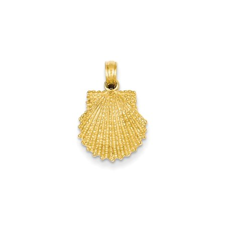 14K Yellow Gold Textured Scallop Shell Pendant (20mm x