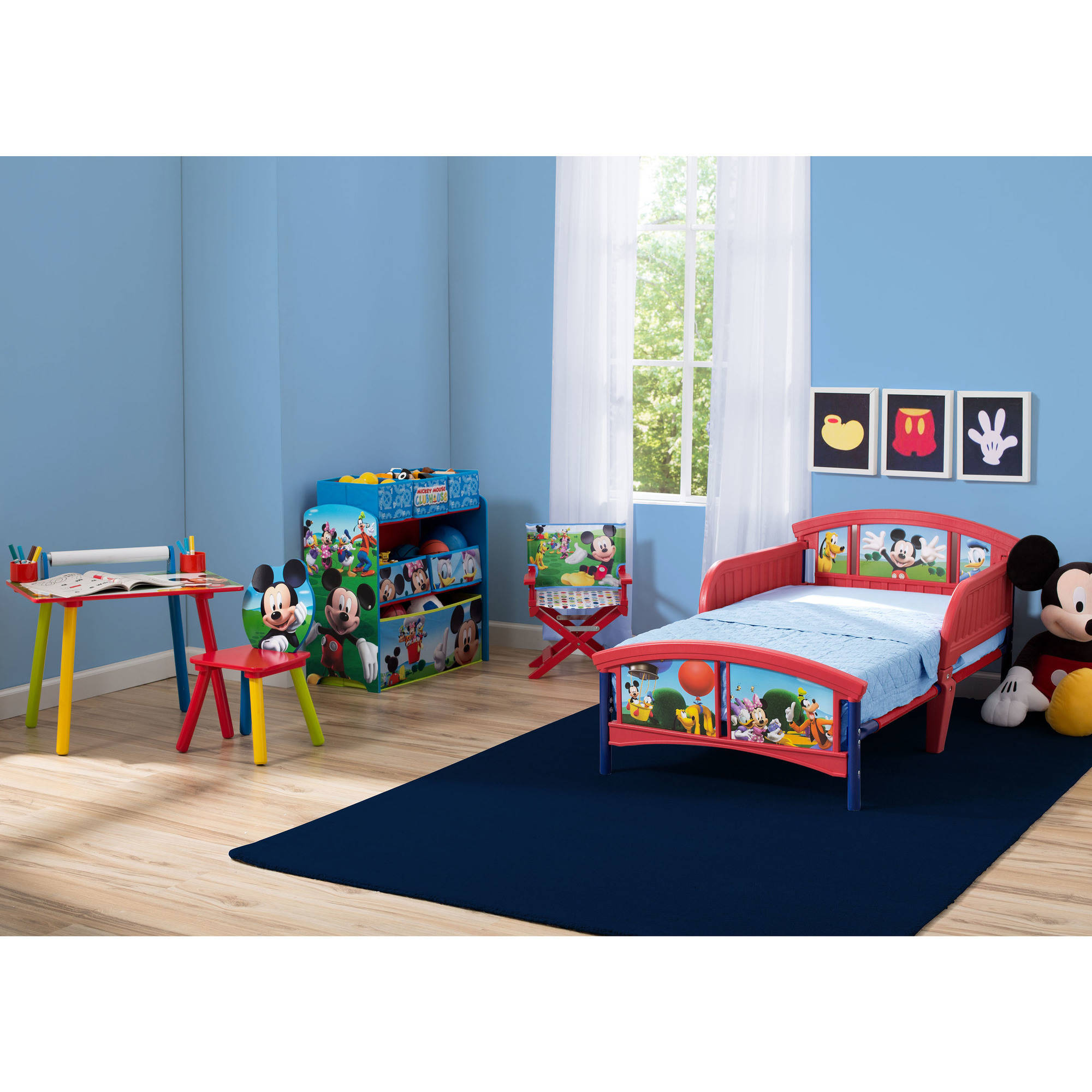 disney mickey mouse room in a box with bonus chair walmart com rh walmart com mickey mouse clubhouse toddler room decor mickey mouse toddler room in a box