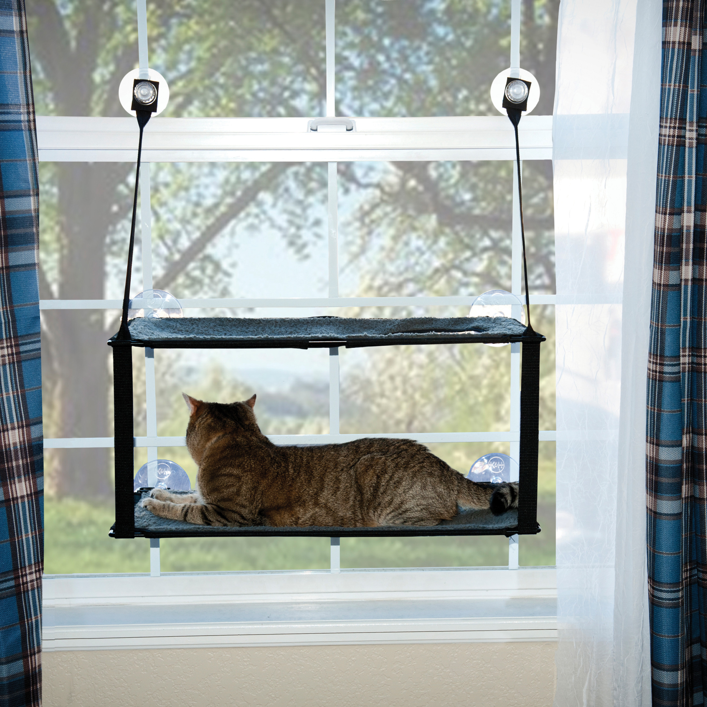 """K&H Pet Products EZ Mount Window Double Stack Kitty Sill Gray 12"""" x 23"""""""