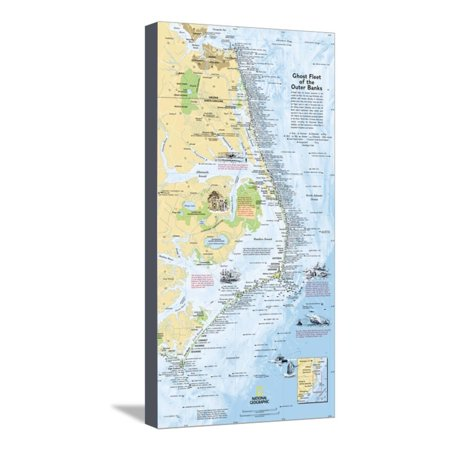 2008 Ghost Fleet of the Outer Banks 1970 Map of North Carolina Coast Stretched Canvas Print Wall Art By National Geographic