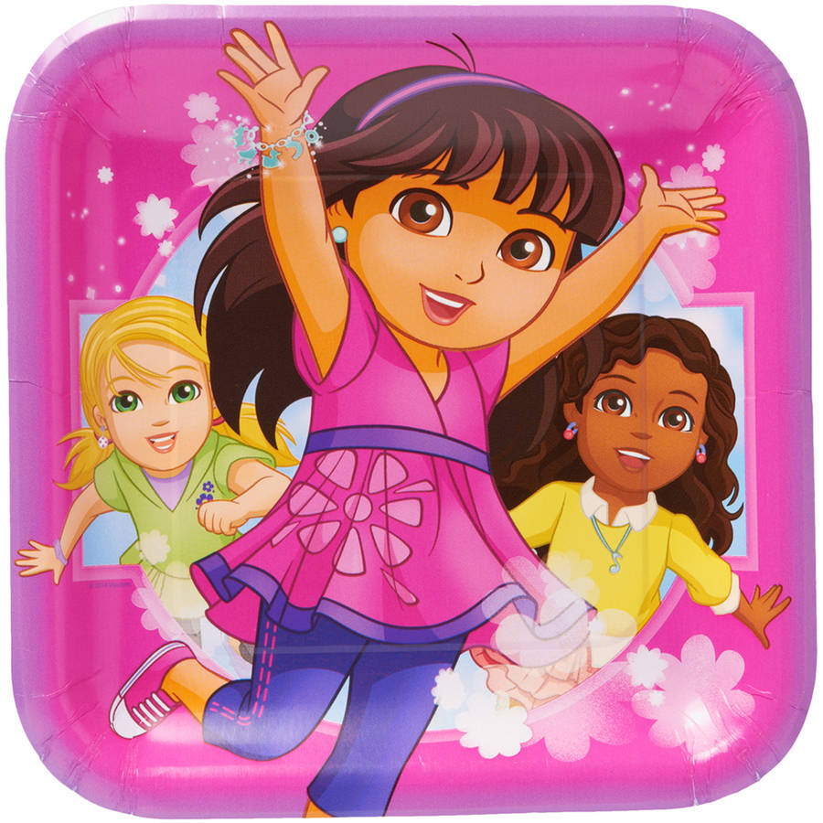 "Dora & Friends 9"" Square Plate, 8 Count, Party Supplies"