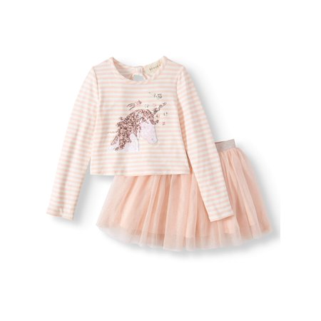 Sequin Unicorn Long Sleeve Tee and Mesh Tutu Skirt, 2-Piece Outfit Set (Little Girls and Big Girls)