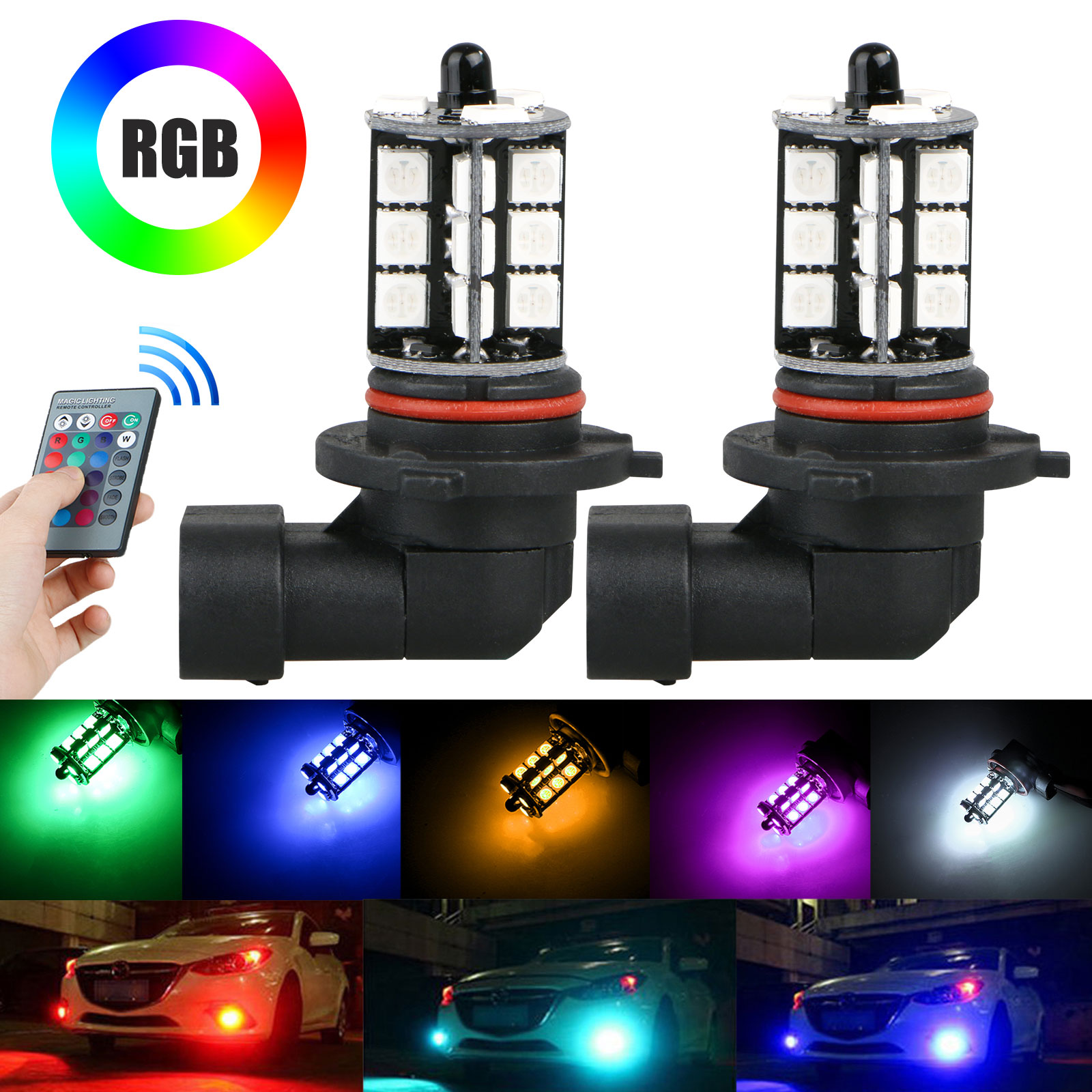 2-pack 9006 LED 27-SMD 5050 RGB Car Headlight Fog Light Lamp Bulb + Remote Control