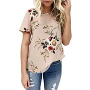 DYMADE Women's Short Sleeve Floral Printed T-Shirt Summer Casual Tops Blouse