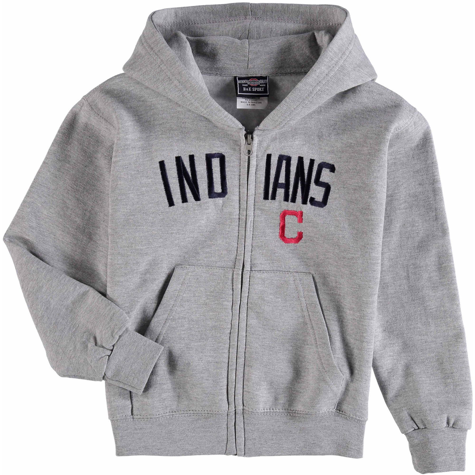Youth Soft as a Grape Heathered Gray Cleveland Indians Team Cap Full-Zip Sweatshirt