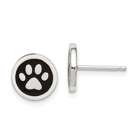 Silver Enamel Animal - 925 Sterling Silver Enamel Paw Print Post Stud Earrings Ball Button Animal Cat Dog Gifts For Women For Her