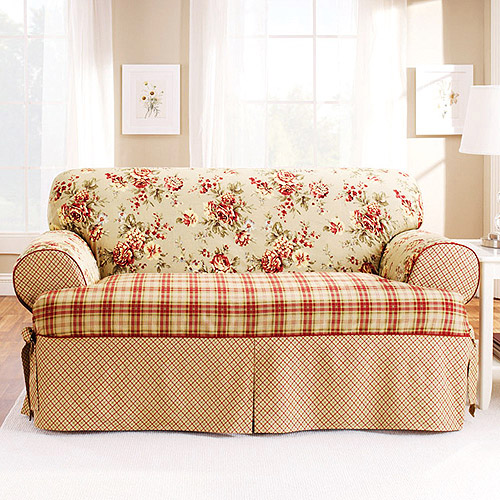Sure Fit Lexington T-Cushion Sofa Slipcover, Red