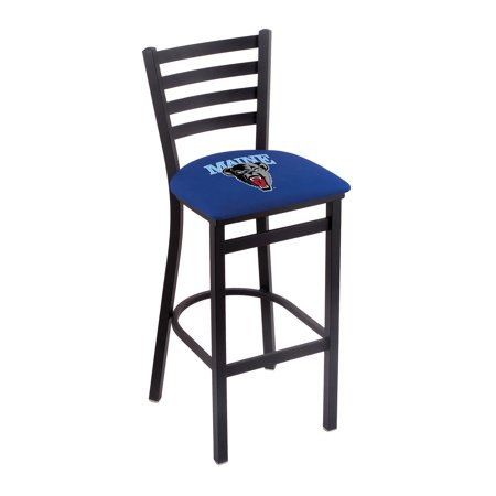 "L004 - 30"" Black Wrinkle Maine Stationary Bar Stool with Ladder Style Back by the Holland Bar Stool Co."