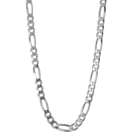 Men's Sterling Silver 180 Figaro Necklace, 22