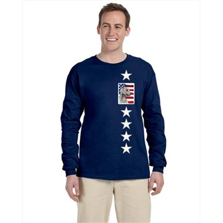 Carolines Treasures SC9021-LS-NAVY-2XL USA American Flag With Weimaraner Long Sleeve Blue Unisex Tshirt - 2Xl - image 1 de 1