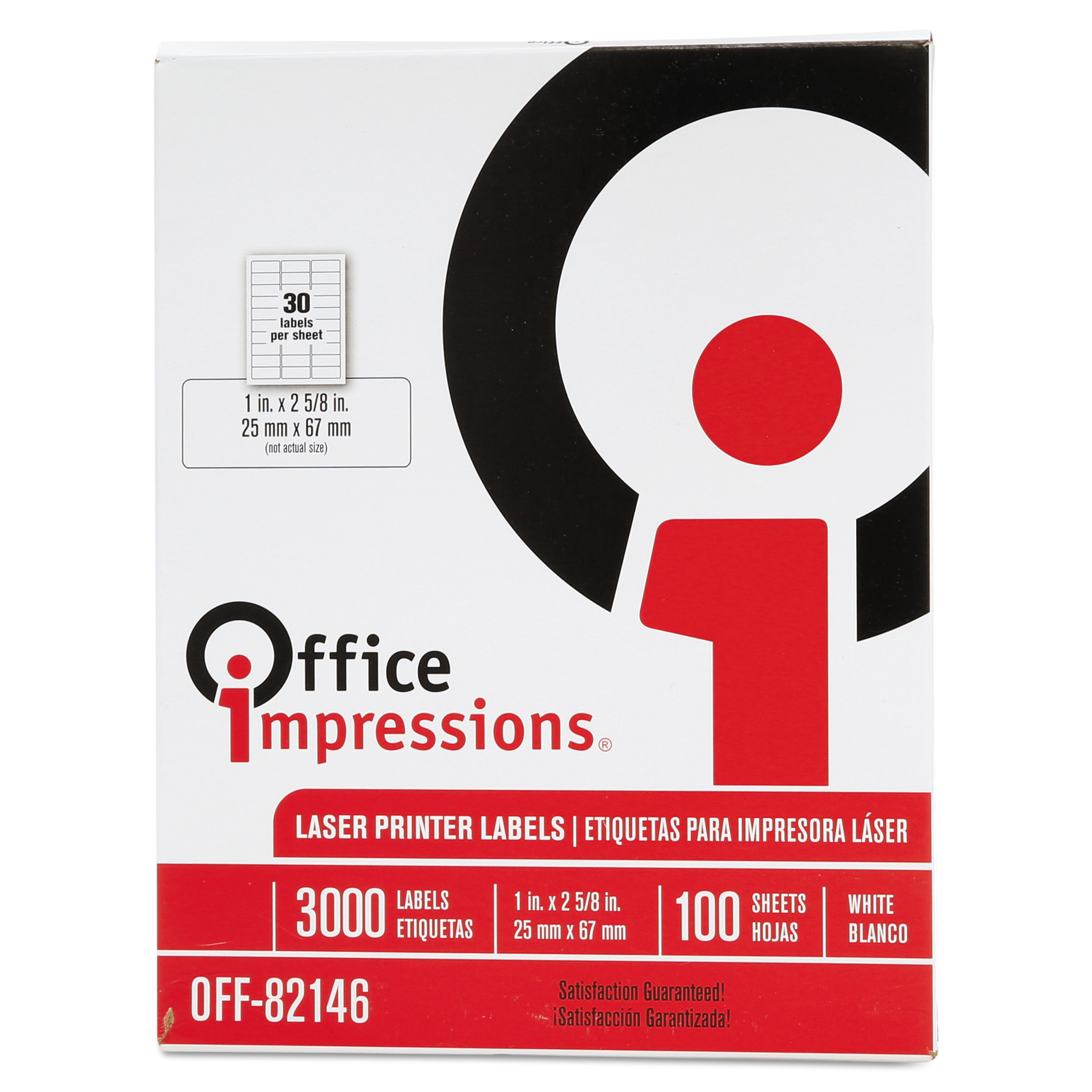 Office Impressions Laser Computer Labels, 1 x 2-5/8, White, 3000/Box