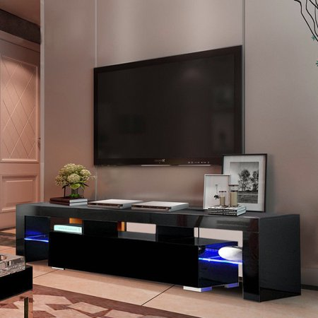 Ktaxon High Gloss Tv Stand Unit Cabinet Console Furniture W Led