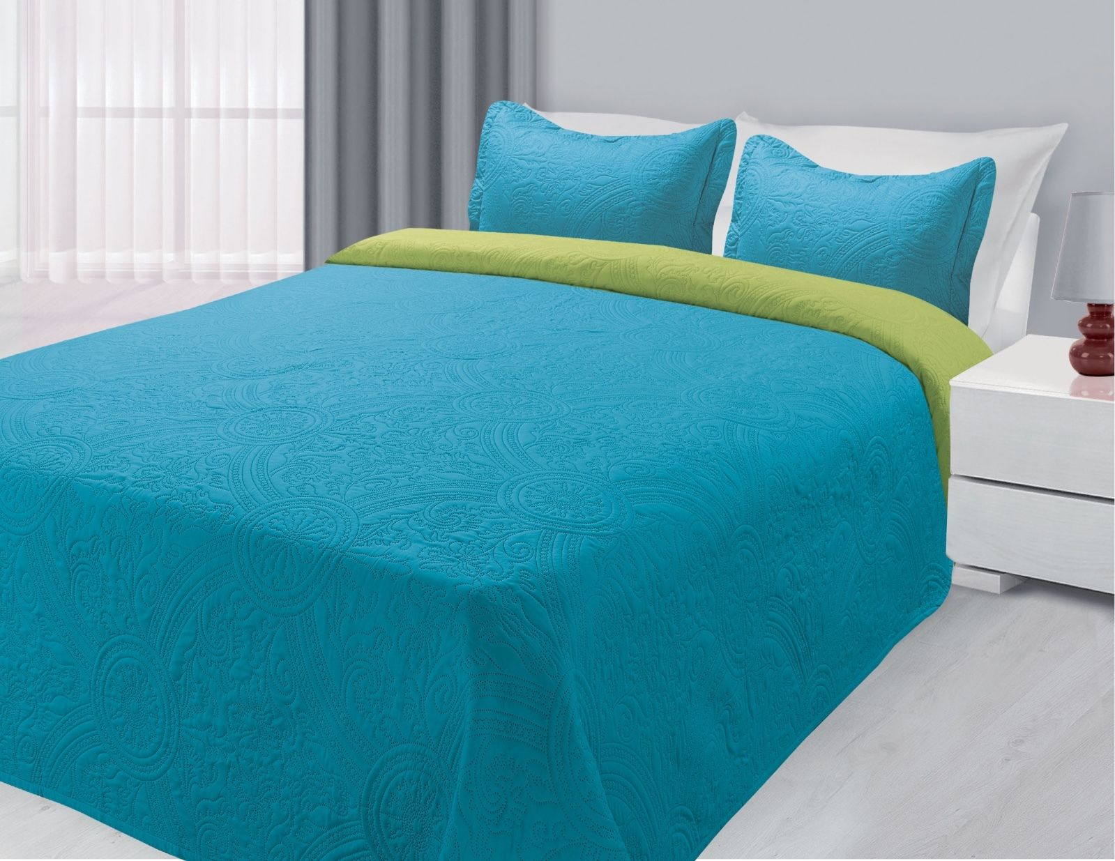 3-Piece Reversible Quilted Bedspread Coverlet Turquoise & Lime King Size by