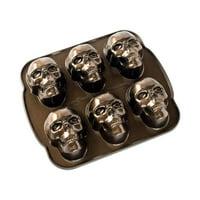 """Nordic Ware Haunted Skull Cakelet Pan, Cast Aluminum, Lifetime Warranty, 5 Cup Capacity, 12.25"""" X 2.25"""" X 13.5"""""""