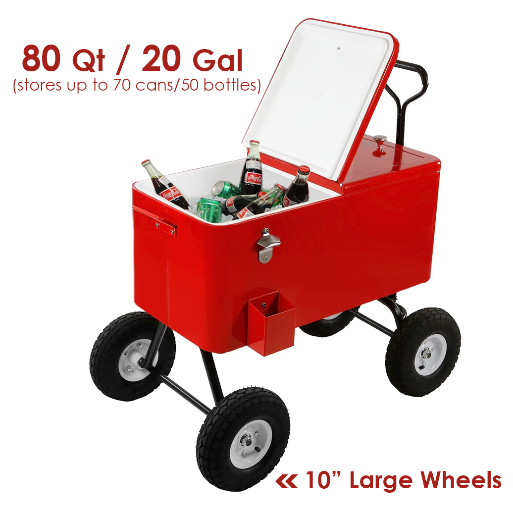 Clevr 80 Quart Red Rolling Cooler Wagon Portable Ice Chest Cart with Large Wheels for Beaches & Parks
