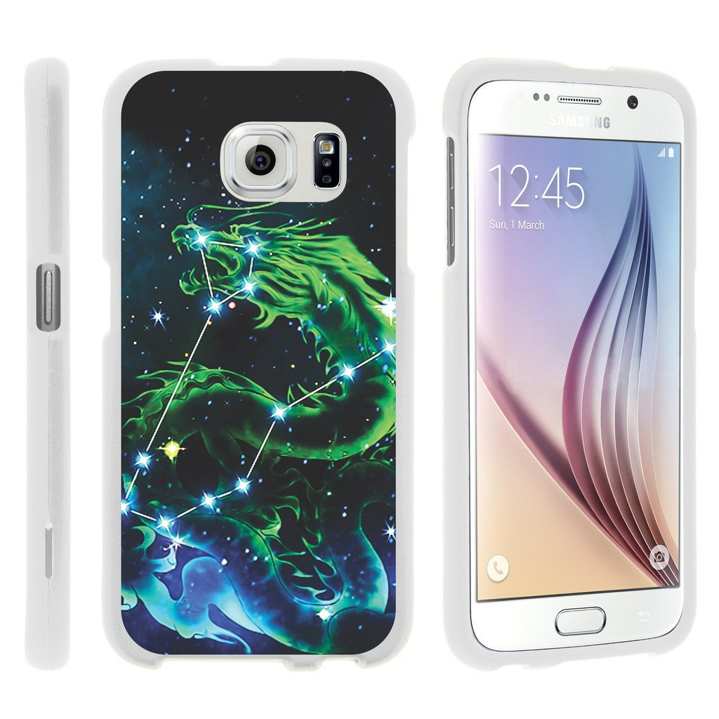 Samsung Galaxy S6 Edge G925, [SNAP SHELL][White] Hard White Plastic Case with Non Slip Matte Coating with Custom Designs - Dragon Constellation Stars