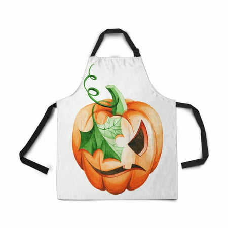 ASHLEIGH Adjustable Bib Apron for Women Men Girls Chef with Pockets Orange Evil Pumpkin Halloween Watercolor Painting Novelty Kitchen Apron for Cooking Baking Gardening Pet Grooming Cleaning