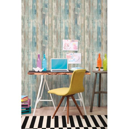 Roommates blue distressed wood peel and stick wall d cor for Paintable peel n stick wallpaper
