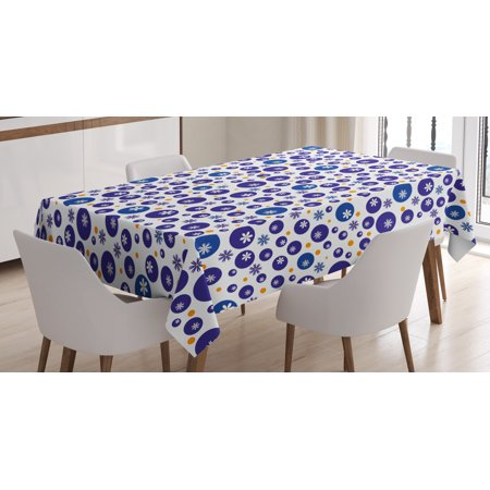 Floral Tablecloth, Blue and Orange Polka Dots with Little Spring Flowers Chamomiles and Daisies, Rectangular Table Cover for Dining Room Kitchen, 52 X 70 Inches, Blue White Orange, by - Orange Polka Dot Tablecloth