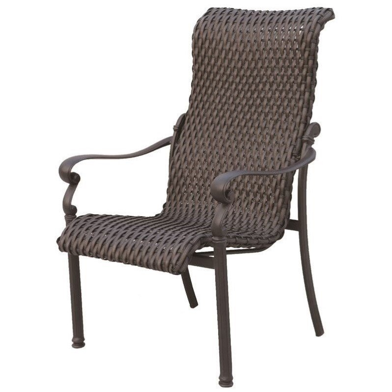 Darlee Victoria Wicker Patio Dining Chair in Espresso (Set of 4)