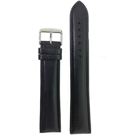 XXXL Watch Band Leather Padded Mens Black or Brown 22mm ()