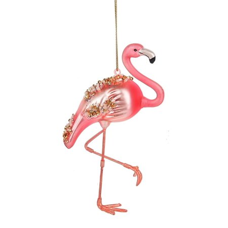Pink Flamingo Encrusted with Beads Christmas Holiday Ornament 5 Inches](Flamingo Ornaments)
