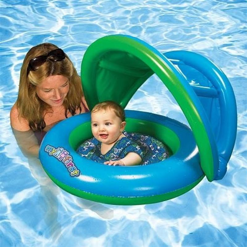 Sun Smart Grow with Me 2-in-1 Sun Shade Baby Boat and Swim Trainer for Boys