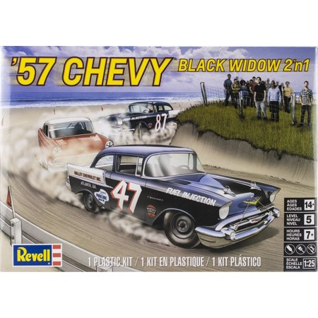 Plastic Model Kit-'57 Chevy Black Widow 2-In-1 1:25 (57 Chevy Model Kit)