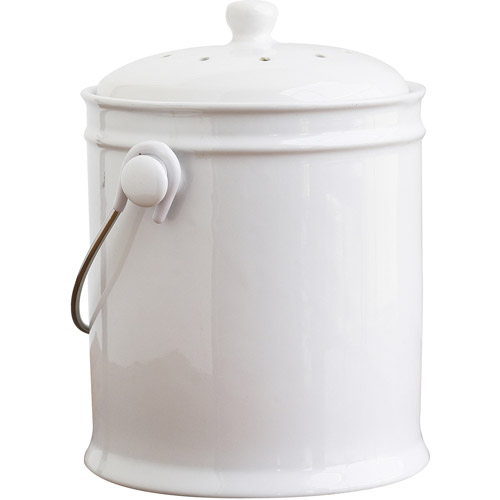 Natural Home 1-Gal Ceramic Compost Bin, White by Generic