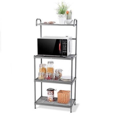 - Costway 4-Tier Baker's Rack Microwave Oven Stand Shelves Kitchen Storage Rack Organizer
