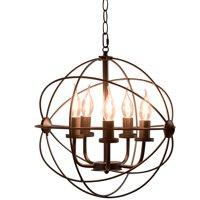 "Gymax 15.7"" 5-Light Modern Orb Chandelier Indoor Pendant for Dinning Room Bedroom"
