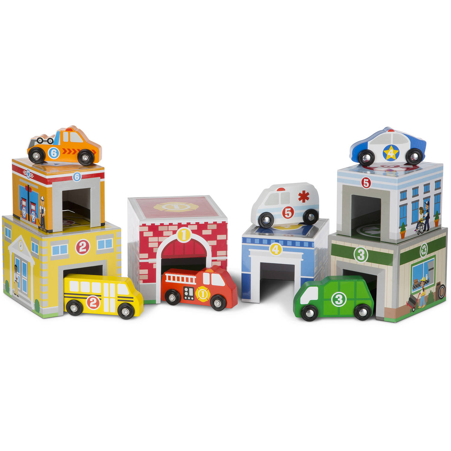 Melissa and Doug Nesting and Sorting Garages and Cars 14-Piece Play Set by Melissa %26 Doug