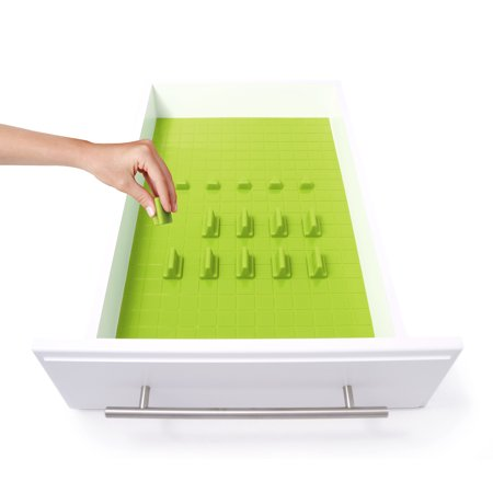 KMN Home DrawerDecor Lime Silicone 16 Piece Customizable Drawer Organizer Starter Kit