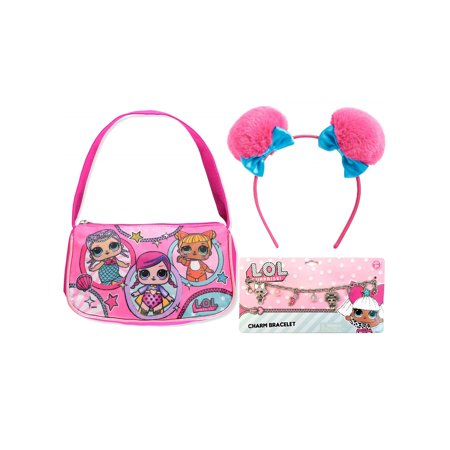 Girls LOL Surprise! Glee Club Handbag Pink, Pom Pom Headband and Charm Bracelet