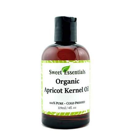 100% Organic Apricot Kernel Oil | Imported From Italy | 4oz Bottle | 100% Pure | Natural Moisturizer for Skin, Hair and Face | By Sweet Essentials