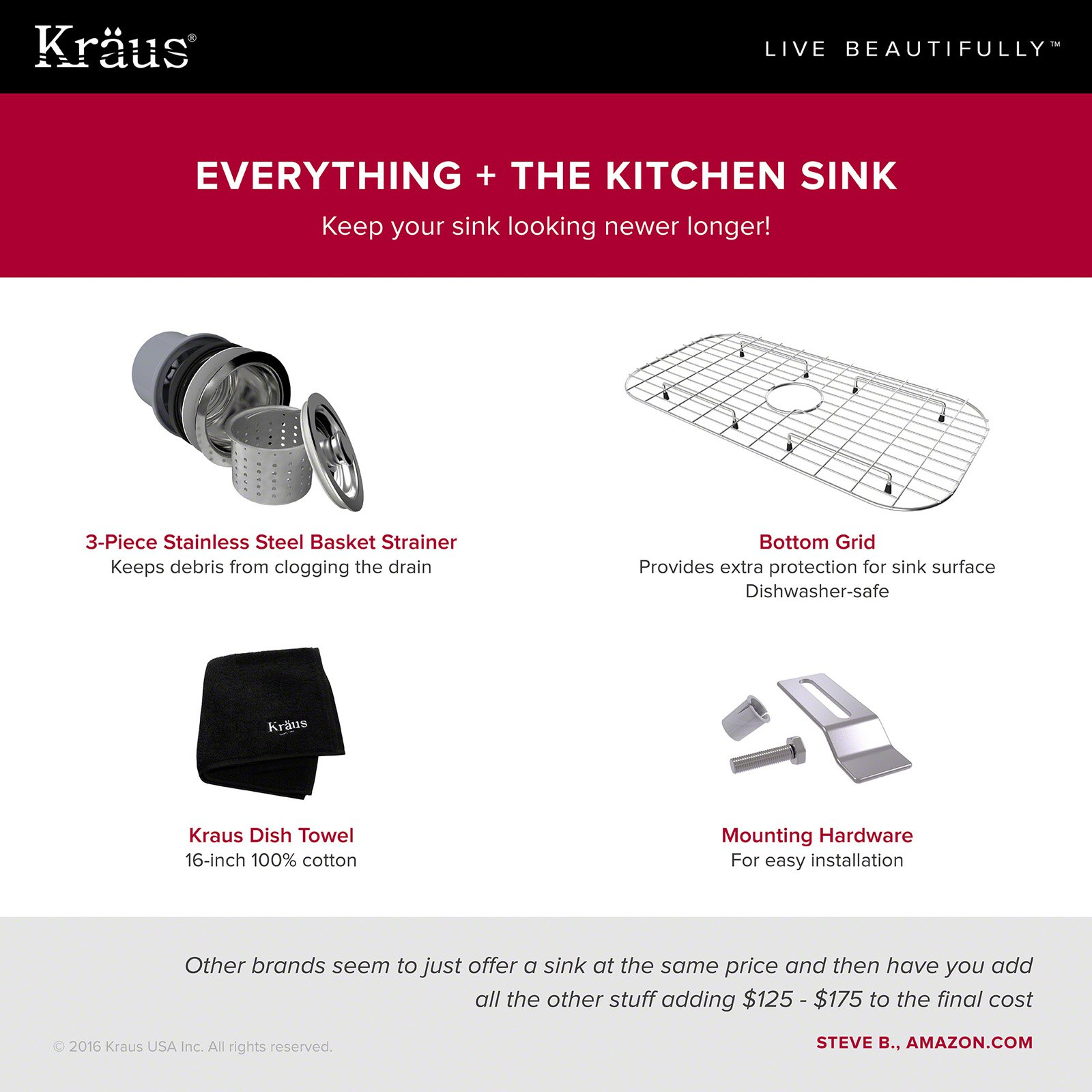 Kraus Usa Inc kraus outlast microshield kbu14e scratch resist premier series