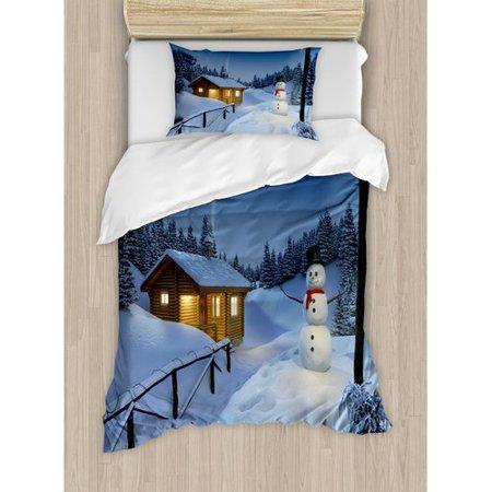 Ambesonne Christmas Wooden Rustic Log Cottage Scenery Winter Warm Moonlight Spirit Decor Duvet Cover