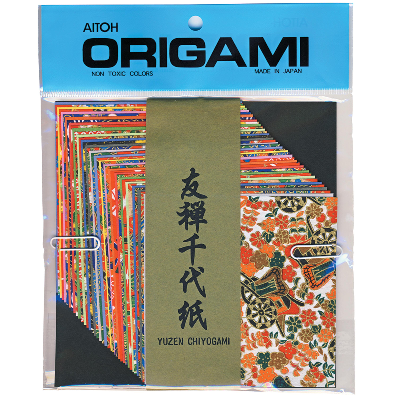 """Aitoh Chiyogami Washi Paper Yuzen Decorative, 4"""""""