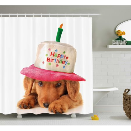 Kids Birthday Shower Curtain, Golden Colored Cute Puppy with Party Cone Shaped Hat with Candlestick Image, Fabric Bathroom Set with Hooks, 69W X 75L Inches Long, Multicolor, by Ambesonne