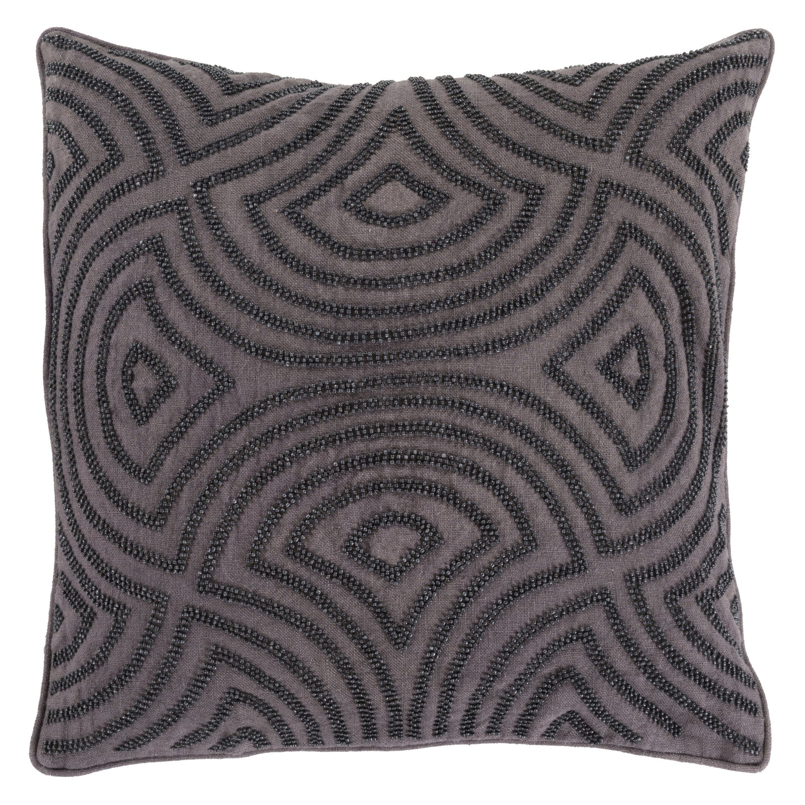 Surya Linen and Beads Decorative Pillow