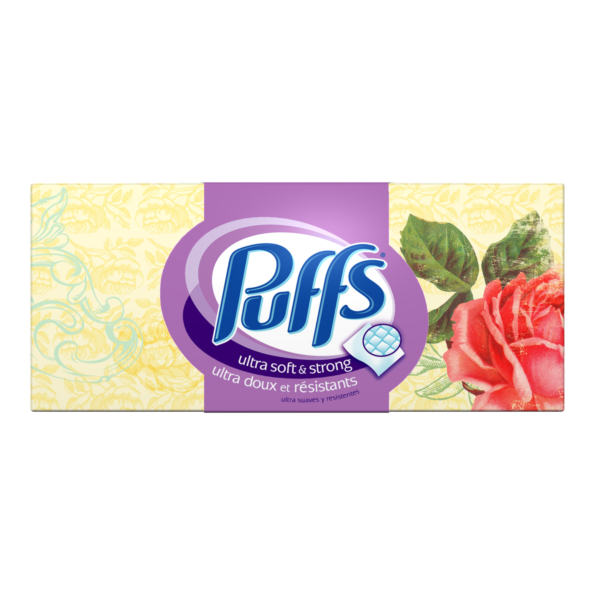 Puffs Ultra Soft & Strong Non Lotion Facial Tissues, White, 124 Sheets/Box